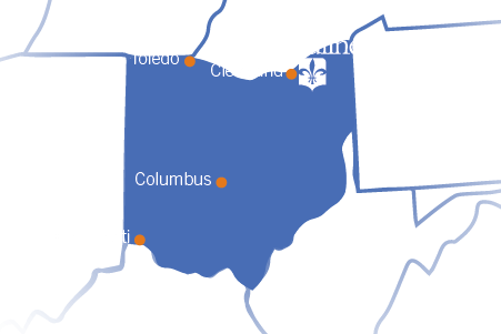 Graphic Map of the Region Around Ursuline College